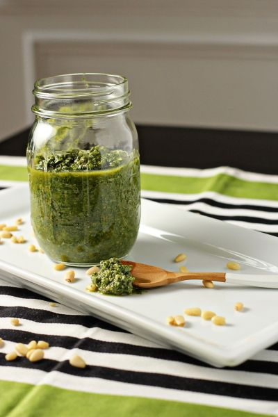 Homemade basil pesto. I use a little more garlic, and you can substitute walnut or almonds for the pine nuts to be more frugal, still tastes awesome.