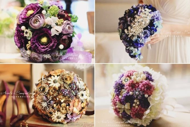 These handmade purple brooch bouquets are so unique and chic! Pick your favorite!