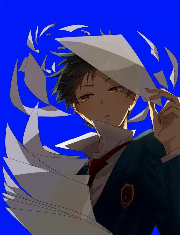Tags: Anime, Blue Background, Paper, SKET Dance, Tsubaki Sasuke, Pixiv Id 1632447