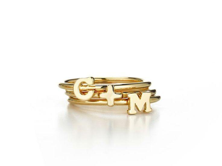 Sarah Chloe stackable initial rings | DailyCandy