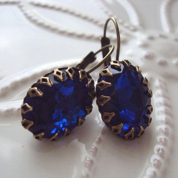 Bijoux LUXE Vintage Estate Earrings, Regina in Cobalt Blue