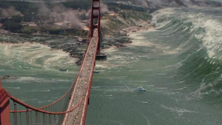 A clip from the movie San Andreas, which shows a tsunami hitting San Francisco -- San Andreas: could it happen? | via @TelegraphFilm http://www.telegraph.co.uk/film/san-andreas/could-the-earthquake-happen/