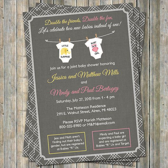 Joint Baby Shower Invitation onesies by freshlysqueezedcards, $13.00