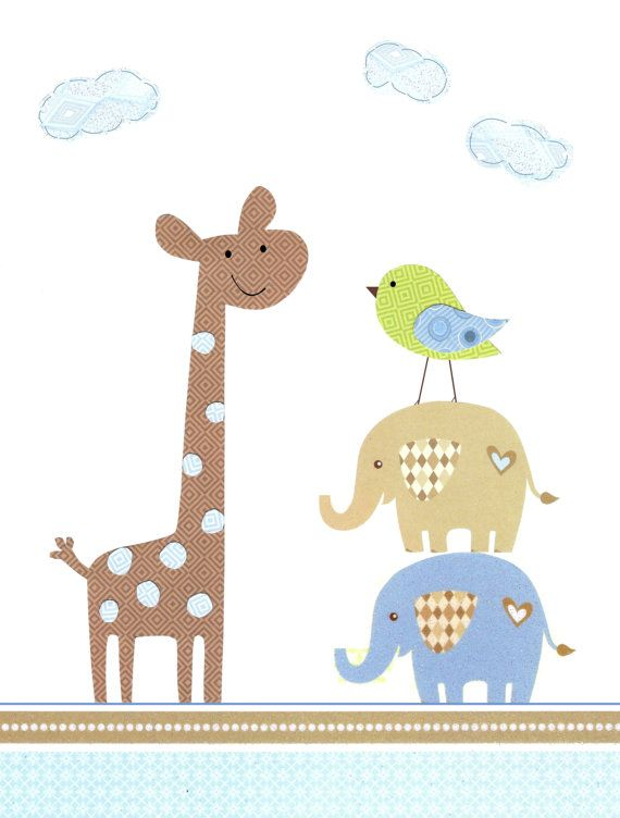 The Happy Giraffe - Kids Wall Art Baby Boy Room Decor Nursery Decor by vtdesigns, $14.00