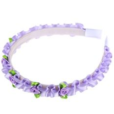 Sweet Handmade Ribbon Flower Accessory Hair Band for Girls (Purple)
