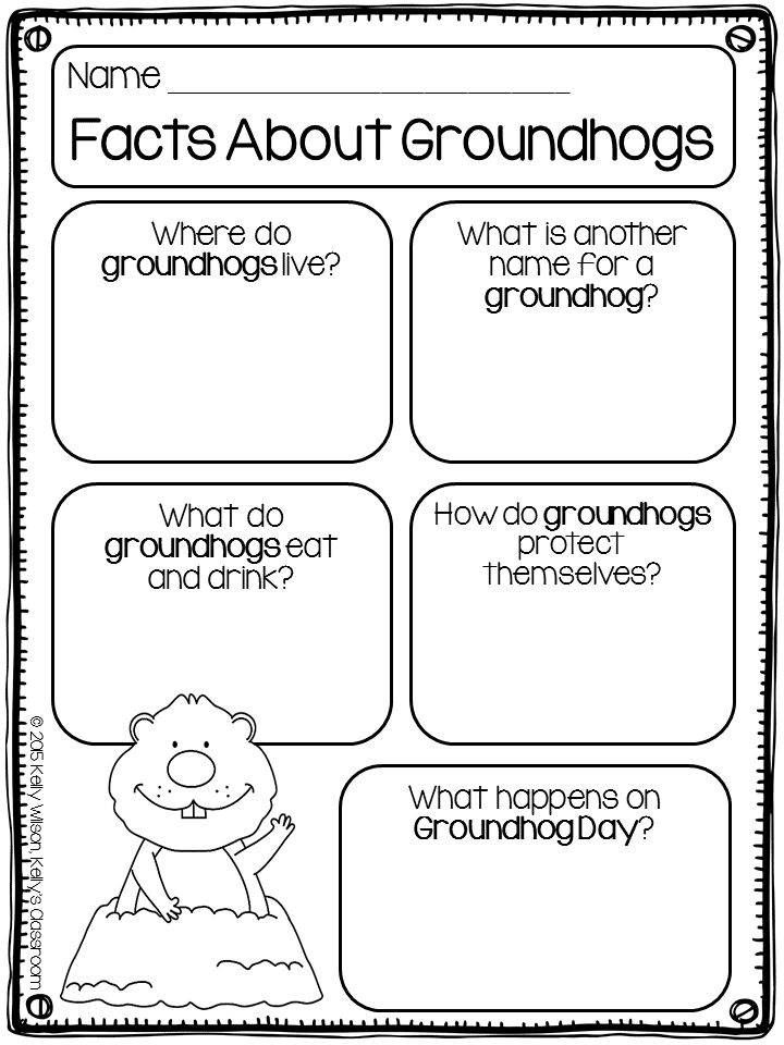 Groundhogs (Groundhog Day, animal research, taking notes)  Groundhog Day is celebrated every year on February 2nd. Legend has it that if a groundhog emerges from its burrow and sees its shadow, then there will be six more weeks of winter. If the groundhog emerges and doesn't see its shadow, then spring will come early.  This little worksheet asks children research the following questions: -What is another name for groundhogs? (woodchuck, whistle-pig or land-beaver) -Where do groundhogs...