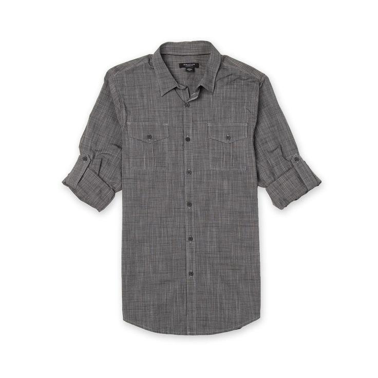 Structure Men's Big Long-Sleeve Casual Shirt - Crosshatch Weave - Clothing - Men's Big & Tall - Shirts