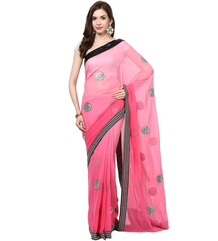Shop Frosty Pink Faux Georgette Saree. Based in USA California 1-3 day shipping. Shop online  www.pinkphulkari.com