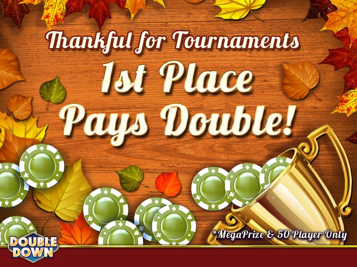 (EXPIRED) Now through Nov. 22, top prize payouts are DOUBLED on MegaPrize & 50 Player slot tourneys! Get started with  150,000 FREE chips by tapping the Pinned Link (Code WJPBMN)