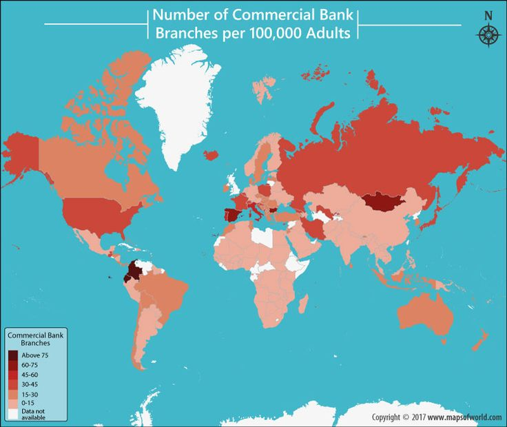 Number of commercial bank branches per 100,000 adults.