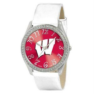 """Wisconsin Badgers NCAA Ladies Glitz Series"""" Watch"""" by Game Time. $40.32. Wisconsin Badgers NCAA Ladies Glitz Series"""" Watch"""". The Ladies Glitz watch features the official licensed team logo; all metal case with 50 crystal stones; patent leather strap; brass dial; stainless steel crown; caseback and buckle; incredible accuracy and reliability Japan Miyota Quartz movement; water resistance to 3 ATM (99 ft); and a Limited Lifetime Warranty."""