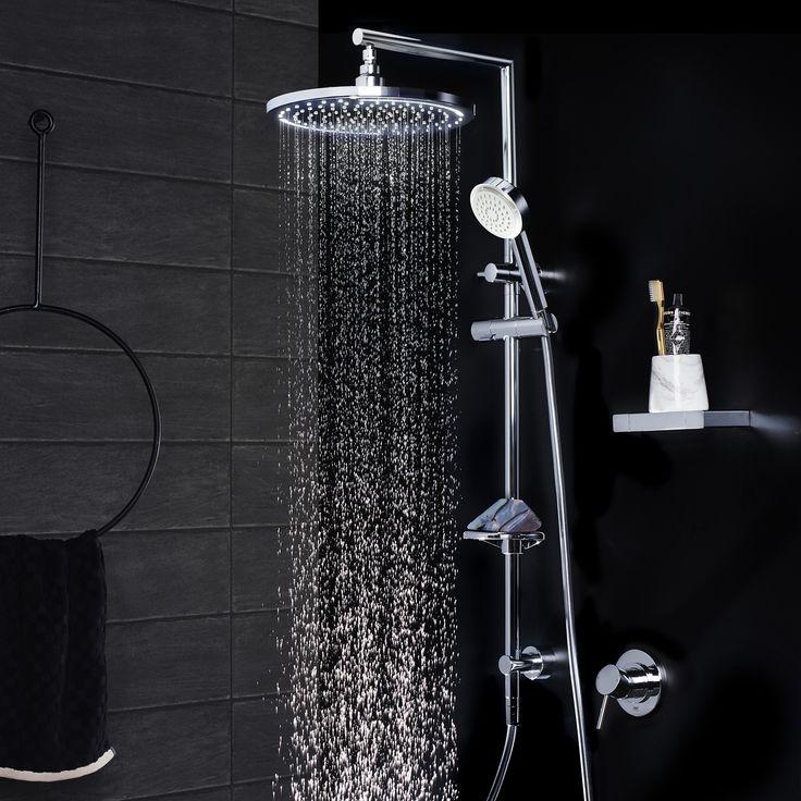 Dorf Luminous LED Round Rail Shower with Overhead. #dorf #dorfstyle #design #shower #bathroom #styling #LEDshower #inspiration #new   http://www.dorf.com.au/products/showers/luminous/luminous-led-round-rail-shower-with-overhead