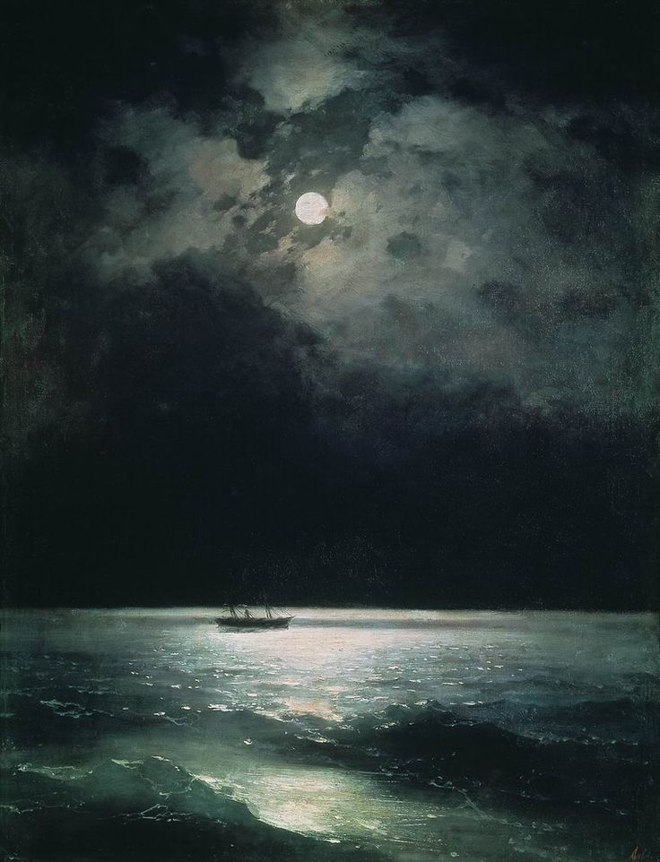 """From a previous pinner: My favorite Aivazovsky painting. It has always made me think of the words by Elie Wiesel; """"Night is purer than day; it is better for thinking and loving and dreaming. At night everything is more intense, more true"""" The Black Sea at night - Ivan Aivazovsky"""