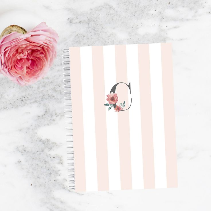 Note Book Personalized - Pink Floral Initial | Custom | Stationery | Monogram | Journal | Planner | Fashionista | Blogger by LetterLoveDesigns on Etsy