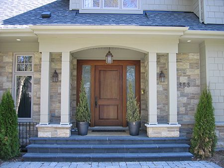 I Replace Our Front Door Add Columns To The Stoop And Reface Exterior Of House With Stone You Ll Know Won Lottery When