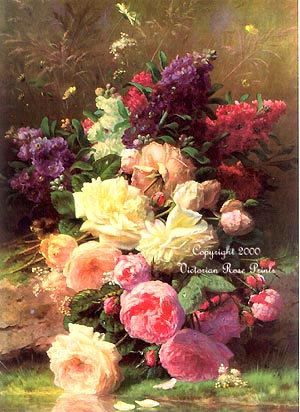 *FREE SHIPPING!* This gorgeous combination of cabbage roses and lilacs or stocks by a streams edge is by the Victorian artist Jean Baptiste