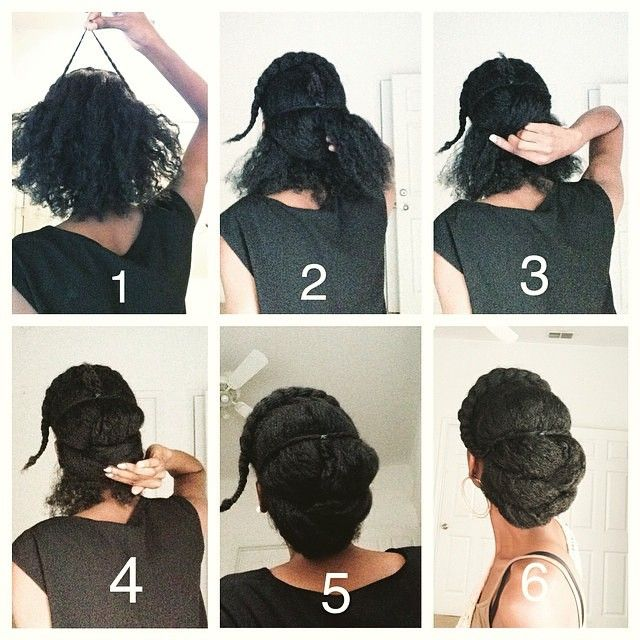 By @fret__ 1. Part the hair however you want too. The front can be a flat twist, braid or what ever you want it to be. Create two twists on each side and secure them in the center of your head 2. Separate the back into two columns and turn each column into three sections. (Left A, Right A, left B, right B, left C and right C). Take left A and hold the ends down to the right. 3. Take right A and hold it down over left A. 4. Take left B and hold it over right A. And take right B and hold it…