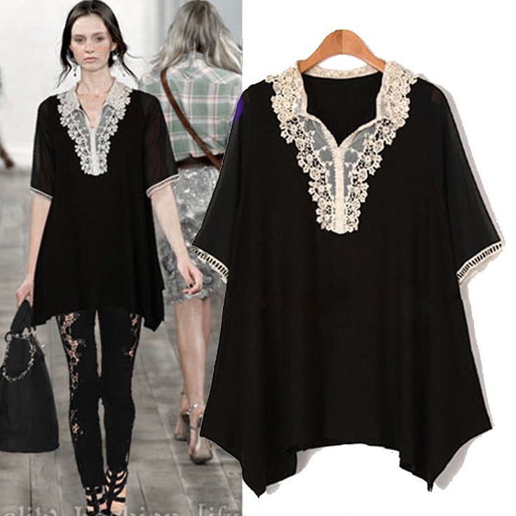 ==> [Free Shipping] Buy Best 2015women short sleeve crochet lapel collar loose fit summer chiffon shirt asymmetrical casual blouse junior top plus sizeXXXXXL Online with LOWEST Price | 32343141123