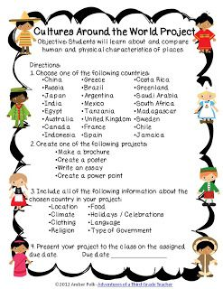 Adventures of a Third Grade Teacher: Social Studies. Culture project. Studying other places in the world.