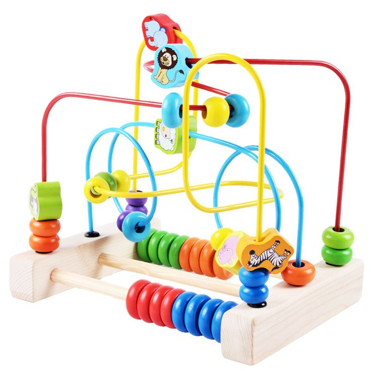 Baby Learning Early Education Wooden Multi-function Box Round Bead Maze Roller Coaster Toys Set For Kids Children Gift ZS012