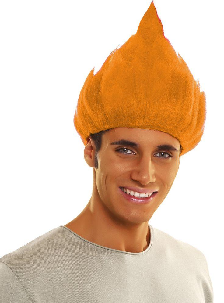 Peluca de Troll naranja para hombre y para mujer