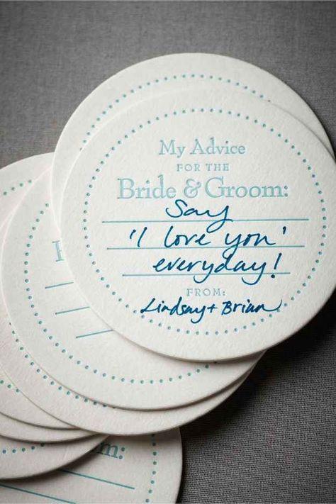 Mini cartões para os convidados deixarem conselhos para os recém casados.