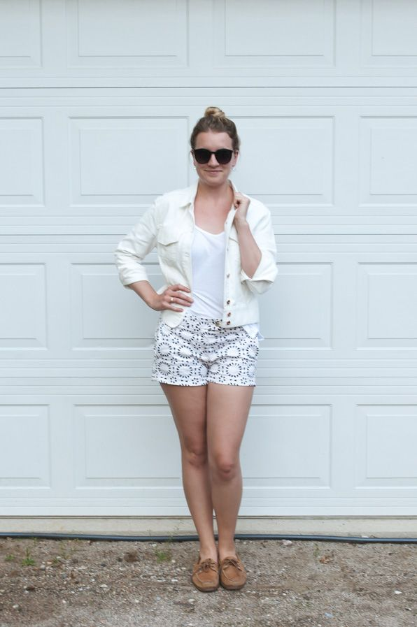 White Denim Jacket and Printed Shorts