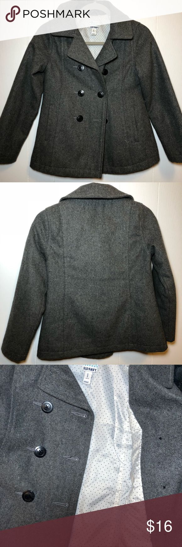 Old Navy Girls Peacoat Gray Wool Size 10-12 Adorable gray wool dress coat for girls • cream colored satin lining with black dots • Shell 40% recycled wool & other materials • lining 100% polyester • excellent condition Old Navy Jackets & Coats Pea Coats