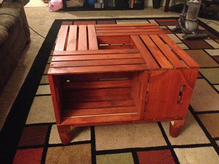 Made a coffee table out of crates from home depot first for Coffee table made out of wine crates