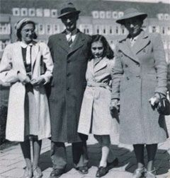 This photo shows Margot Frank, Otto Frank, Anne Frank and Edith Frank-Holländer on the Merwedeplein square in Amsterdam. It is the only photo which shows the whole family together. It was taken in 1941. Anne is then 12 years old.