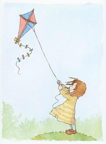 Kite Girl by Claire Keay, an original watercolour painting for sale!