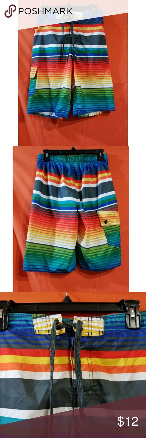 Size Large Colorful Swim Short Hang Ten Hang Ten, excellent used condition, drawstring closure, mesh lining, Velcro pocket #colorful #preloved #swim #swimtrunks hang Ten Swim Swim Trunks