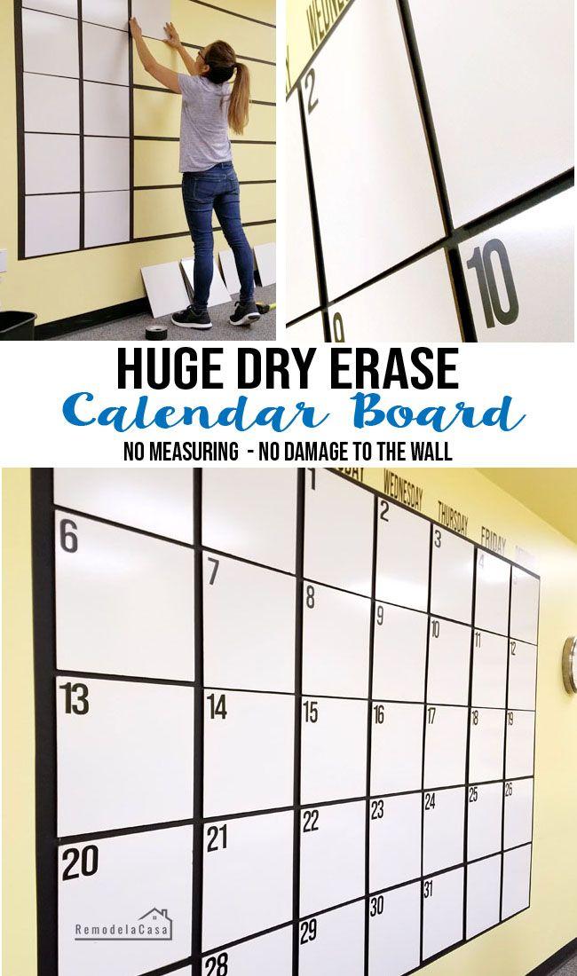 Diy Huge Dry Erase Calendar Board Dry Erase Board Calendar