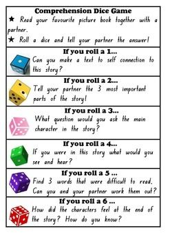 Students read a picture book in pairs. After reading they roll a dice and the corresponding number instructs them to apply a certain comprehension strategy - make a text to self connection, retell, determine importance, use questioning, visualizing, infer The set includes one game card for teachers to photocopy for each game. Please see my other free products to download this game for grades 3-6.