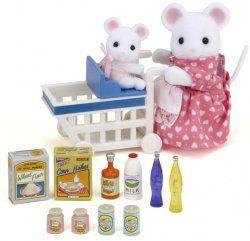 #SylvanianFamilies - Zakupy w sklepie spożywczym Mama, Marta Biała Myszka, zabiera swoją nowo narodzoną córeczkę Maję pierwszy raz na zakupy!