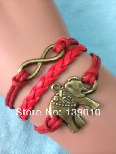 Luxury Retro Metal Alloy Elephant Infinity Charm Bracelets Bangles Red Handmade Red Leather Rope Vintage Women Men Gifts Jewelry #Affiliate