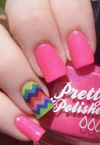 By From Polish, with Love. Here is 3 coats of Pretty & Polished 'I Want Candy' a bubblegum pink polish with a subtle scattered holo throughout! On my ring finger for an accent nail is a Jamberry Nail Shield in Summer Chevron! For more details and to order Jamberry, click on my blog link below! http://frompolishwithlove.blogspot.com/2013/07/jamberry-mani-for-tori-in-summer-chevron.html #pink #holo #glitter #shimmer #fun #jamberry #chevron #summer #multicolor #rainbow @Bloom.COM