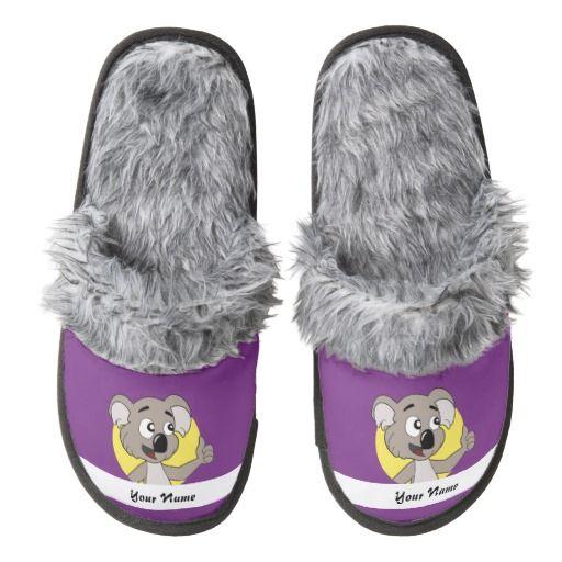 Koala bear cartoon pair of fuzzy slippers