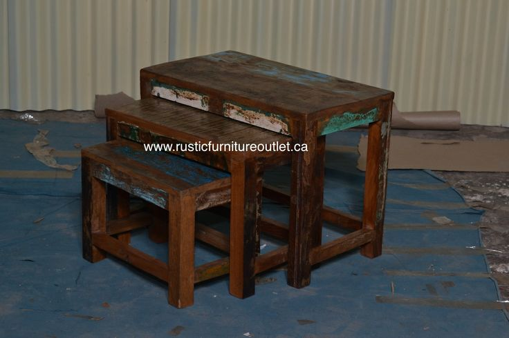 """Crafted from recycled wood solids in a multi-colored hand-painted finish ensuring bonafide originality, these 3 in 1 tables offers the faded colors of an heirloom as well as an alluring rustic charm.  http://www.rusticfurnitureoutlet.ca/recycledwoodfurn.html  24""""L x 18""""H x 13"""" D cost 149$"""