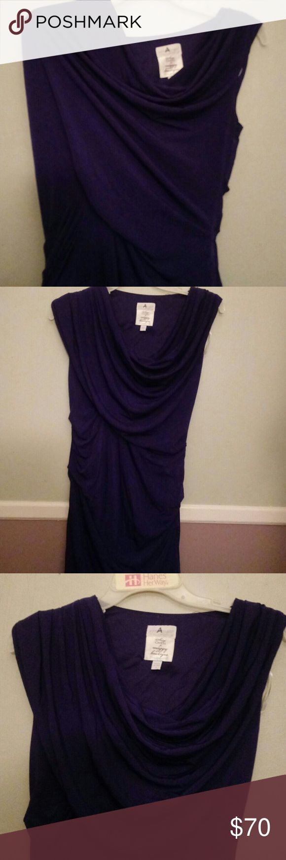 """Maternity Dress Pea In The Pod Maternity Dress. Dark Purple. draping wide on left shoulder. Zips up the left. Lots of stretch. Size small. Suzi Chin for maggy boutique. Beautiful dress for any woman! Like New! Length 37"""" pit to pit unstretched 15"""" Suzi Chin for Maggy Boutique Dresses"""