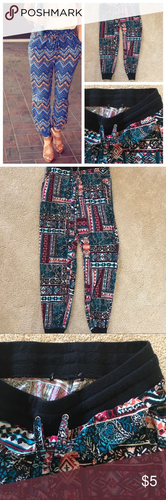Womens tribal jogger pant Super cute and soft! Worn excellent condition with very faint balling at inside waist and leg band. Very soft and stretchy material. Pants Track Pants & Joggers
