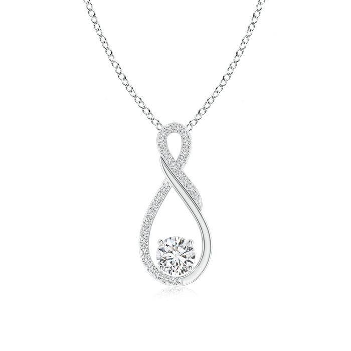 A solitaire diamond pendant perfectly enveloped by an infinity knot', nothing can showcase beauty in a better way!