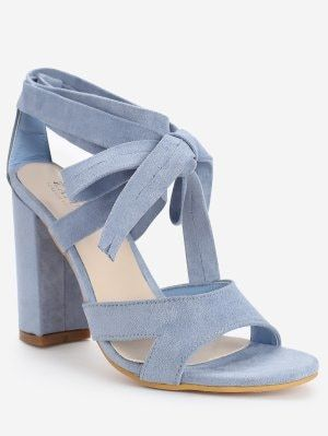 Crisscross Block Heel Ankle Strap Lace Up Sandals - Light Blue 36 ...