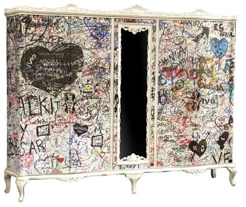cool graffiti cabinet.........This is another piece that would be great for writing what we are thankful for...our many blessings!