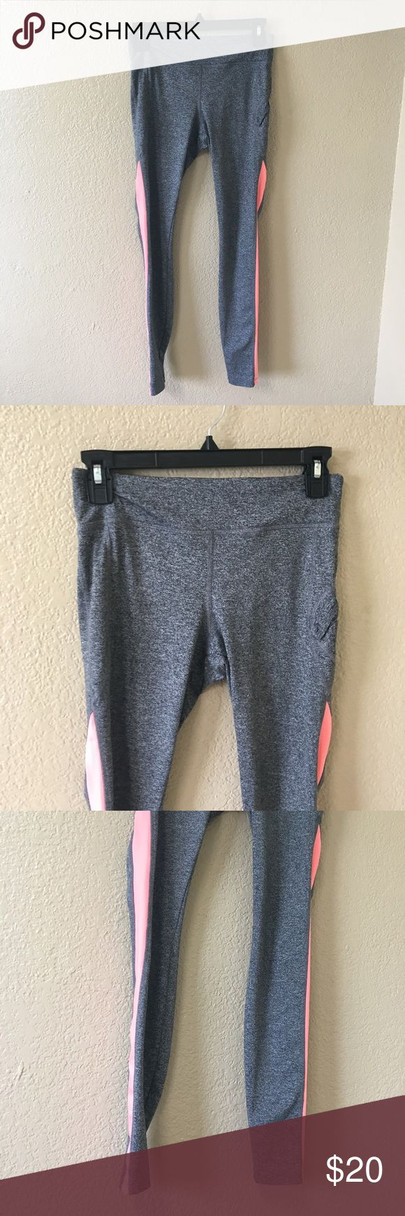 Forever 21 gray athletic leggings pink size small Forever 21 gray athletic leggings pink stripe Forever 21 Pants Leggings