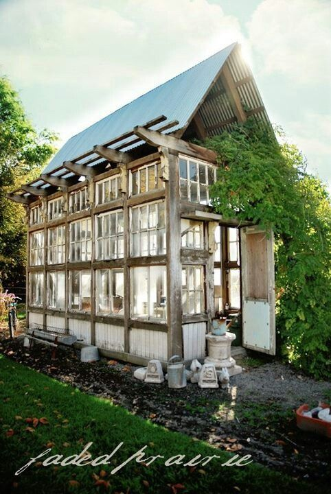 green house made from old windows | Greenhouse made of old windows
