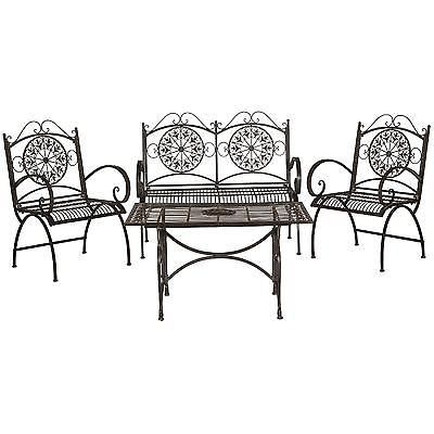 Outdoor Patio Dining Furniture Set 4 Piece Rustic Chair Ottoman Table Brown Yard
