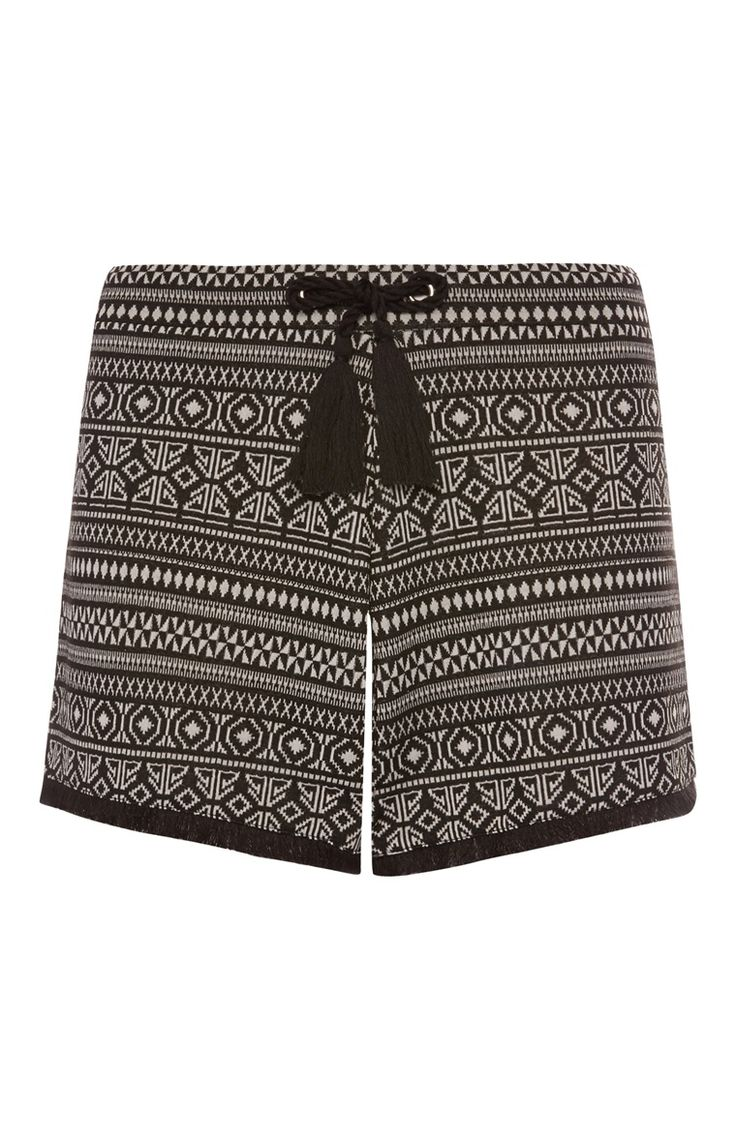 Primark - Zwarte korte broek met print en franje