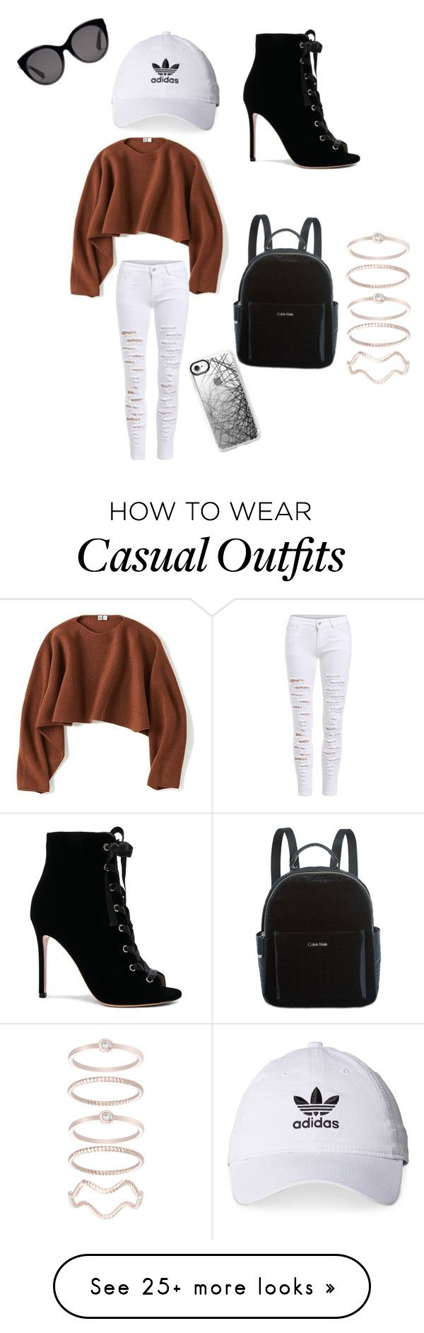 """Cute casual"" by katherinebazarte on Polyvore featuring Uniqlo, Gianvito Rossi, Calvin Klein, Gucci, adidas, Casetify and Mia Sarine"
