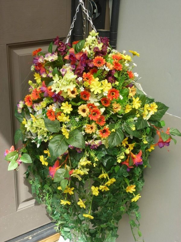 How To Make Flower Baskets For Hanging : Best images about artificial flower hanging baskets on